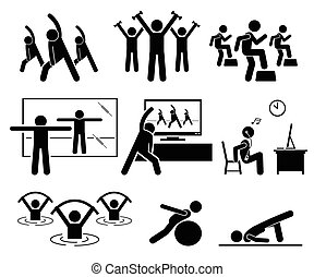 aerobic, tornaterem, szoba, instructor., osztály