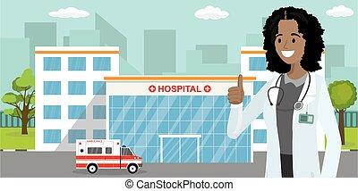 afrikai, épület, női, vagy, autó, orvos, mentőautó, amerikai, klinika