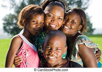 afrikai, gyerekek, anya