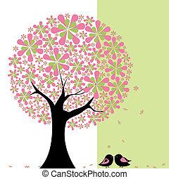 afrikai törpe papagáj, virág, fa, tavasz