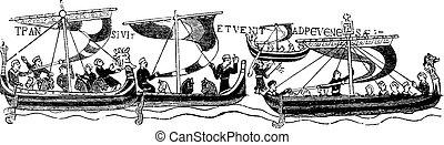 (after, bayeaux, tapestry), szüret, hajó, vilmos, híres, hódító, engraving.