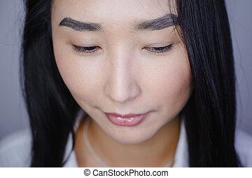 after., gyönyörű, procedure., előbb, ázsiai, megkettőz, portré, kiterjedés, közben, nő, szempilla, hangerő