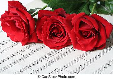 agancsrózsák, ív, három, piros, zene