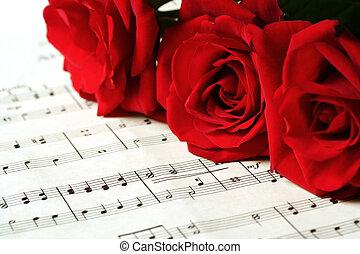 agancsrózsák, ív, piros, zene