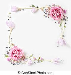 agancsrózsák, friss, elszigetelt, keret, rózsaszínű, határ