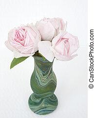 agancsrózsák, három, váza, zöld, finom, rózsaszínű, malachit