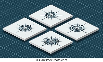 agancsrózsák, isometric, állhatatos, iránytű