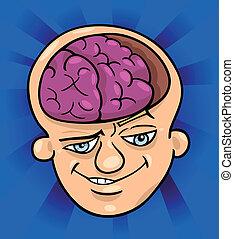 agyas, karikatúra, ábra, ember