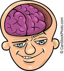 agyas, karikatúra, ember