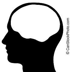 agyonüt, fej, hím, árnykép, terület