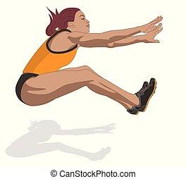 airborne ugrál, atléta, fehér, elszigetelt, női, hosszú, háttér