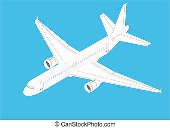 airliner., modern, fehér, twin-engine