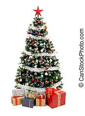 ajándékoz, fehér, fa, karácsony