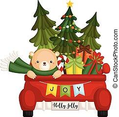 ajándékoz, sok, csinos, vektor, hord, csereüzlet, tehetség, hát, elverés, karácsony