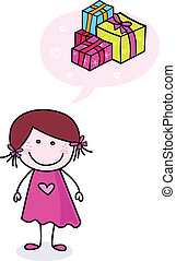ajándékoz, szórakozottan firkálgat, leány, boldog
