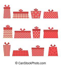 ajándékoz, vektor, állhatatos, piros
