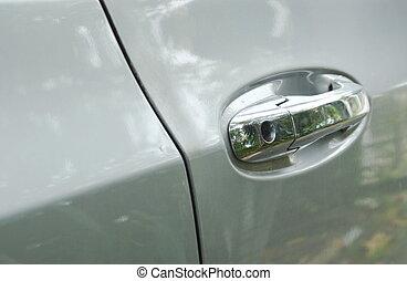 ajtó, autó, fogantyú
