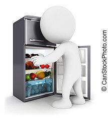 ajtó, emberek, hűtőgép, fehér, indít, 3