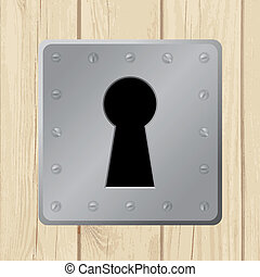 ajtó, fából való, -, ábra, vektor, kulcslyuk