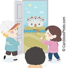 ajtó, gyerekek, bástya, ábra, képzelet