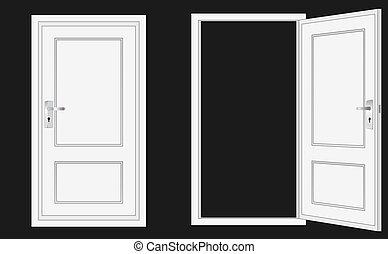 ajtó, kinyitott, csukott