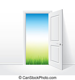ajtó, kinyitott, természet, ábra, vektor, fehér