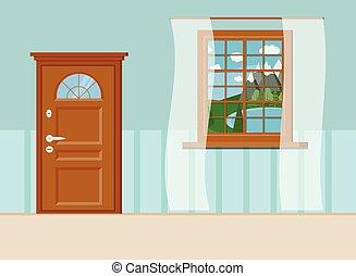 ajtó, tó, belépés, erdő, nyár, ablak kilátás, csukott, táj