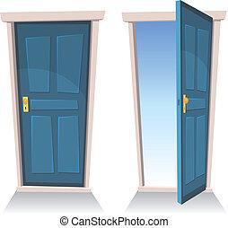 ajtók, nyílik, csukott