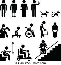 akadály, disable, amputált beteg, emberek bábu