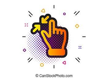 akció, gesztus, vektor, gyertya, cégtábla., touchscreen, ki, arrows., icon.