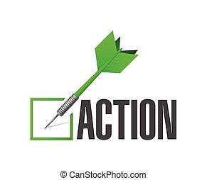 akció, hajít, ábra, lista, ellenőriz