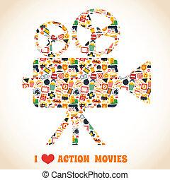 akció, mozi fényképezőgép