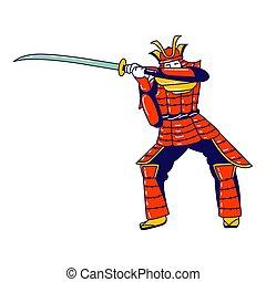 akció, vagy, forraszt, lőszer, museum., hagyományos, japán, betű, előkészít, fehér, áll, katana, szamuráj, lineáris, fárasztó, színész, elszigetelt, ábra, háttér., kard verekszik, ember, vektor, harcos