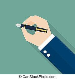 akol, kéz, szökőkút, írás