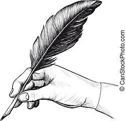 akol, rajz, tollazat, kéz