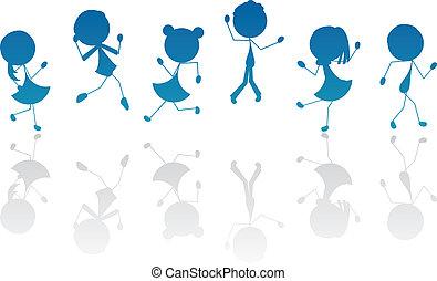 aktivál, árnykép, gyerekek, bot, karikatúra