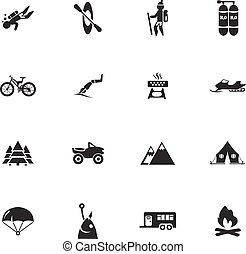 aktivál, pihenés, állhatatos, ikonok