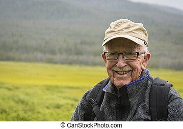 aktivál senior, boldog, ember