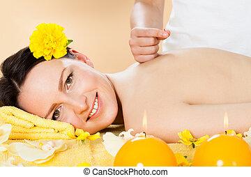 akupunktúra, ásványvízforrás, nő, felfogó, bánásmód