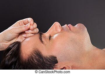 akupunktúra, ember, bánásmód, kinyerés