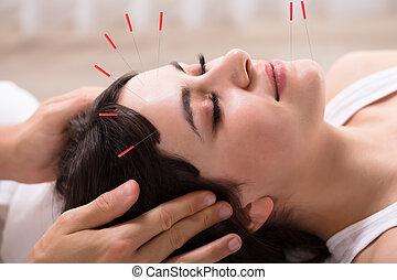 akupunktúra, nő, felfogó, bánásmód