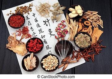 akupunktúra, orvosság, választás