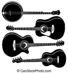 akusztikai, körvonal, vektor, gitárok