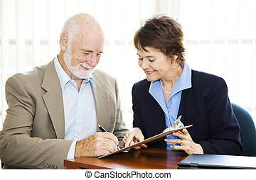 aláírás, üzletember, idősebb ember