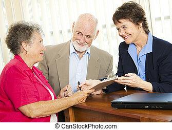 aláír, anyagi, -, tanács, idősebb ember, itt