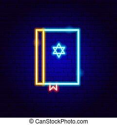aláír, biblia, neon, zsidó