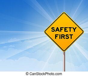 aláír, biztonság első, veszély