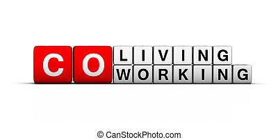 aláír, co-working, co-living, hely
