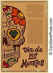 aláír, cukor, címke, jel, mexikói, grunge, vektor, poszter, tervezés, dead)., muertos, (day, háttér., elem, banner., elszabadult, ábra, koponya, ellen-, kártya, dia