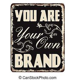 aláír, -e, saját, szüret, márka, berozsdásodott, ön, fém